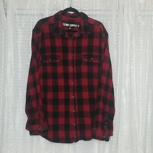 Red Buffalo Plaid Flannel Button Up Size XXL
